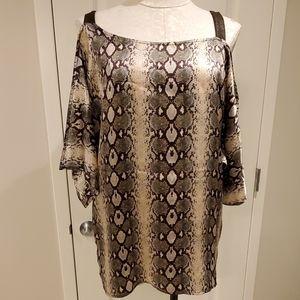 SW3 BESPOKE snake print cold-shoulder blouse
